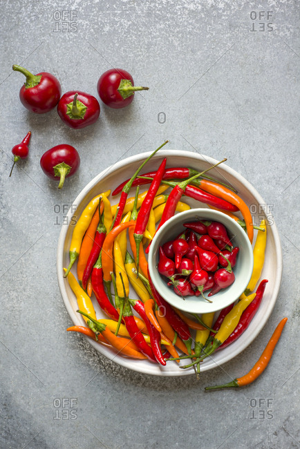 A variety of fresh hot peppers