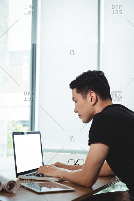 Business executive working on laptop