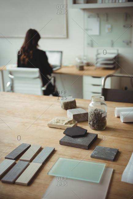 Stone slab arranged on table