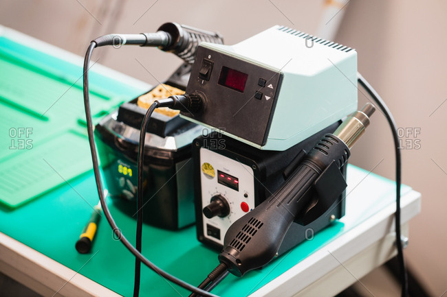 Soldering iron on stand