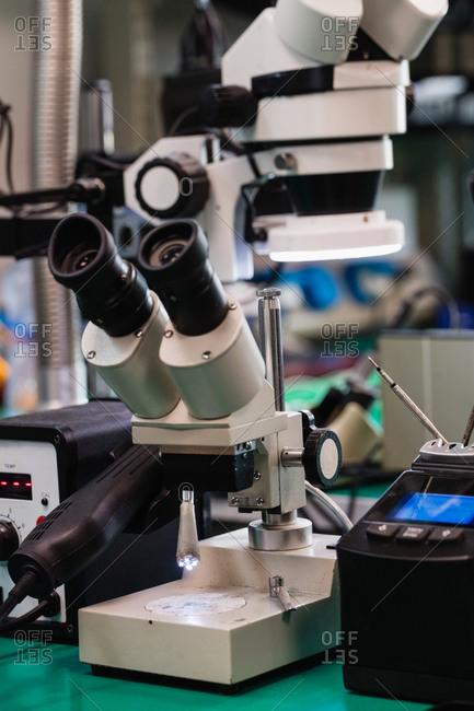 Microscope in electronics repair center