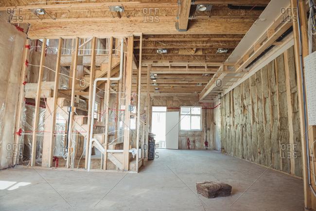 Interior of a building under construction
