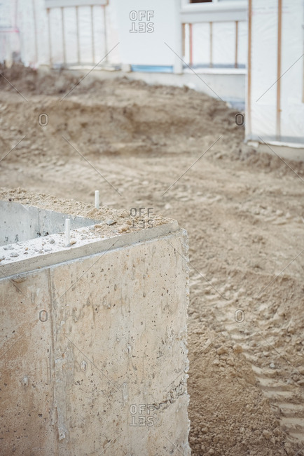Concrete foundation at construction site