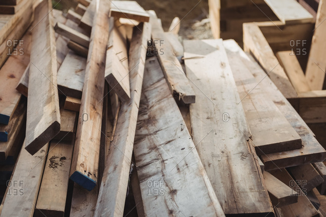 Wooden planks at construction site