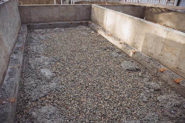 Concrete foundation with gravel