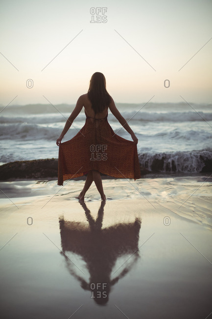 Rear view of woman posing on beach