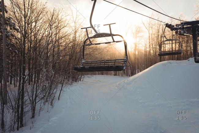 Empty ski lift in the ski resort