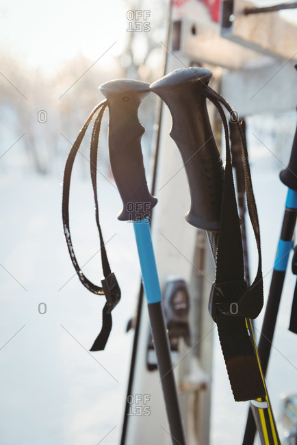 Close-up of ski poles