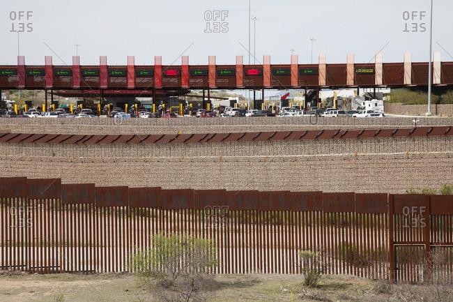 Nogales, Mexico - October 9, 2015: Cars at border between US and Mexico
