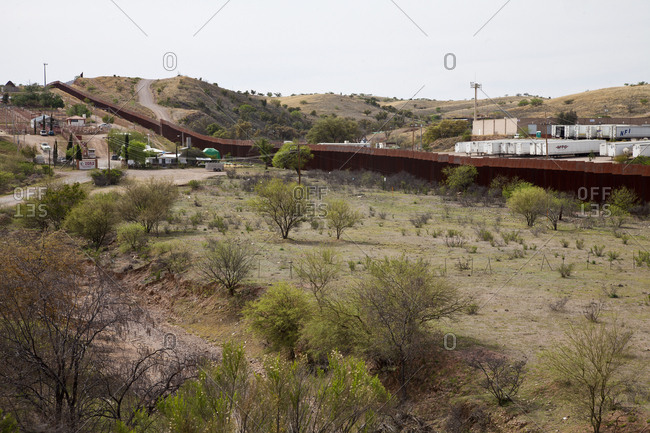 Nogales, Mexico - October 9, 2015: Border wall between US and Mexico