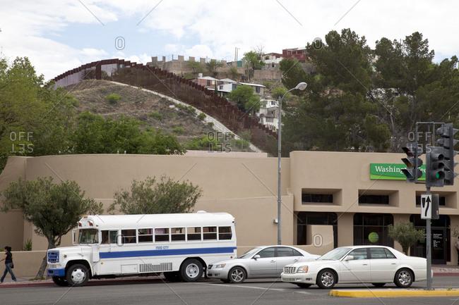 Arizona, USA - October 9, 2015: Mexican border wall in Arizona town