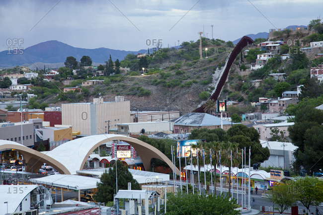 Nogales, Mexico - October 9, 2015: The border wall between US and Mexico