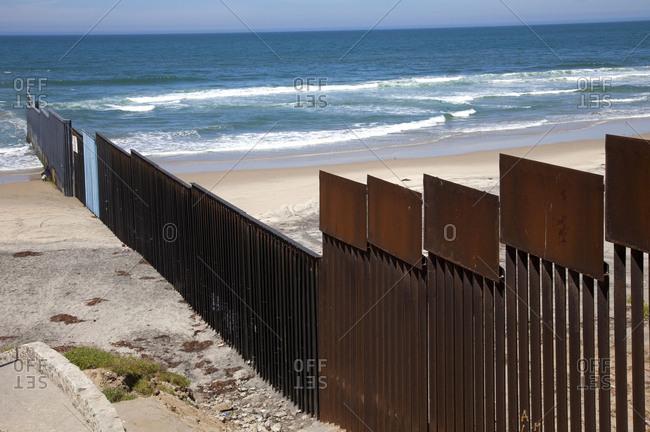 Border wall between Mexico and US at Tijuana