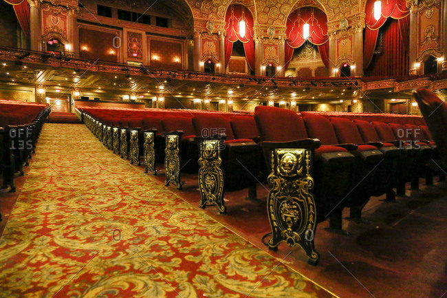 Brooklyn, New York - February 20, 2017: Seating in opulent Kings Theater