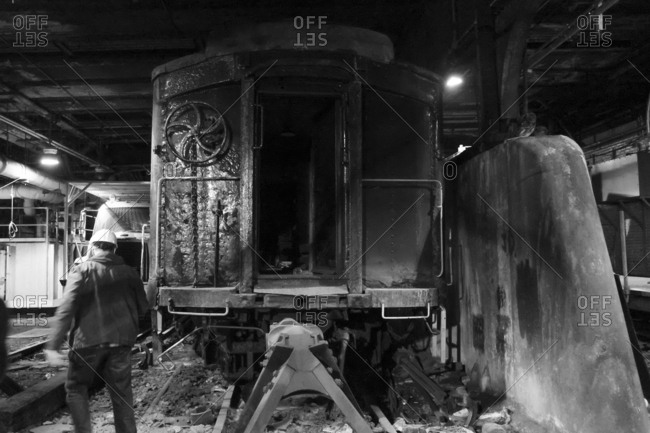 New York City - January 14, 2017: Rail worker under Grand Central Terminal