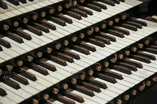 Keys of organ in historic theater