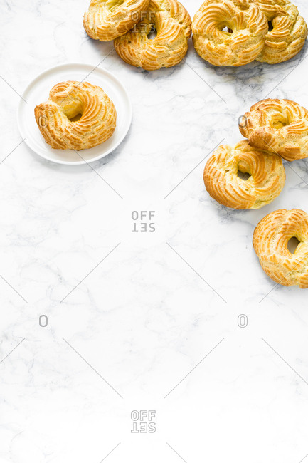 Puff pastries on white background