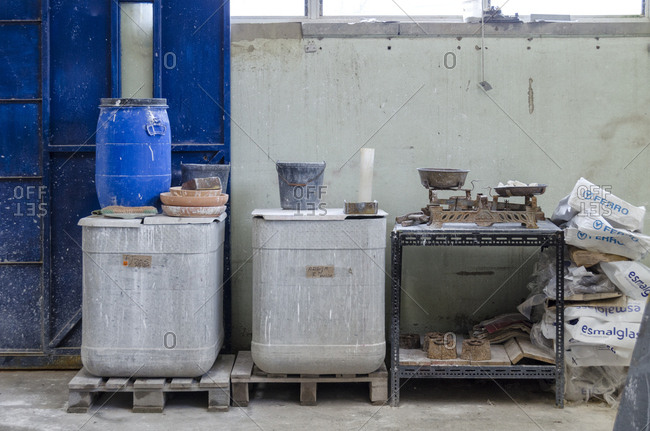 Lisbon, Portugal - February 19, 2014: Inside a tile factory