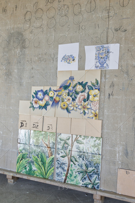 Lisbon, Portugal - February 19, 2014: Tile designs in tile factory