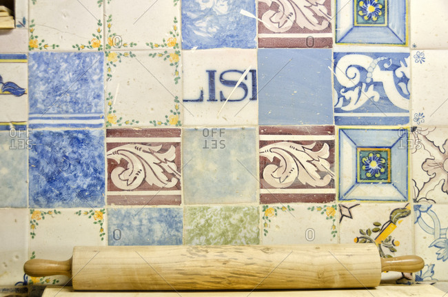 Lisbon, Portugal - March 18, 2014: Rolling pin by various tile designs