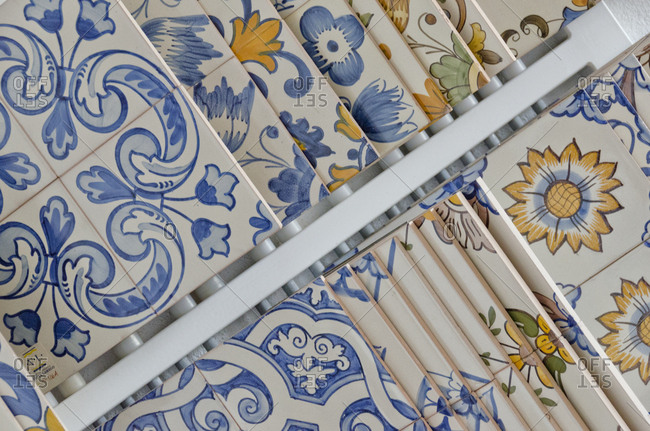 Lisbon, Portugal - February 19, 2014: Close up of floral tiles