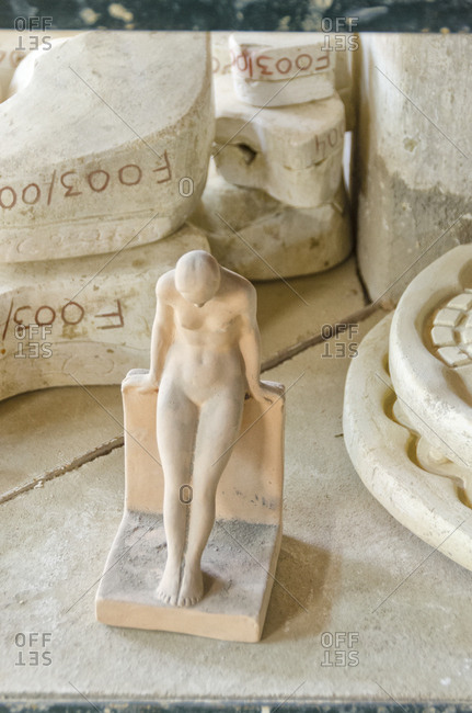 Lisbon, Portugal - March 18, 2014: Ceramic figurine and molds