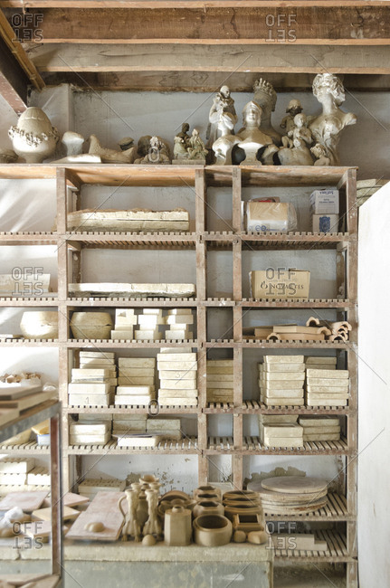 Lisbon, Portugal - March 18, 2014: Molds and ceramic items on shelves