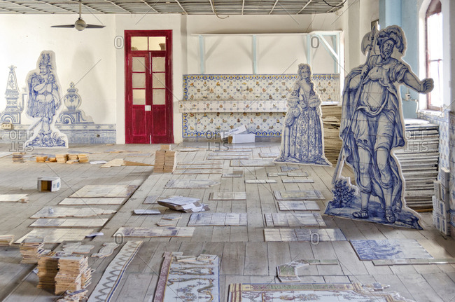 Lisbon, Portugal - March 18, 2014: Ceramics in a factory with historic figures
