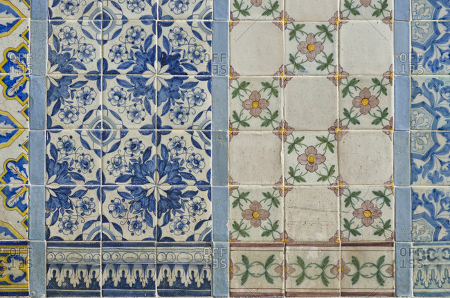 Lisbon, Portugal - March 18, 2014: Various patterns of tile