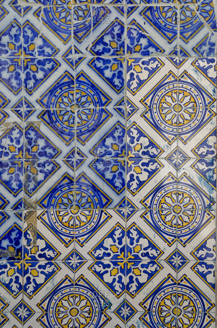 Close-up of Azulejos tile work