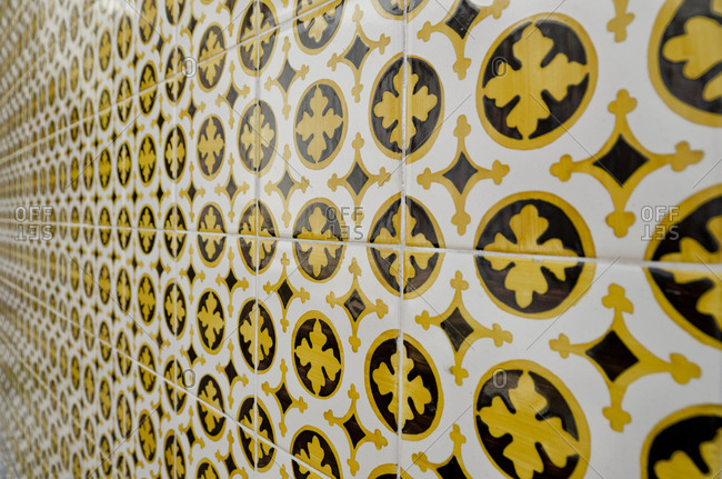 Detail of a wall covered in Azulejos tile work