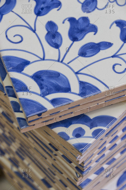 Blue tiles in a factory, Portugal
