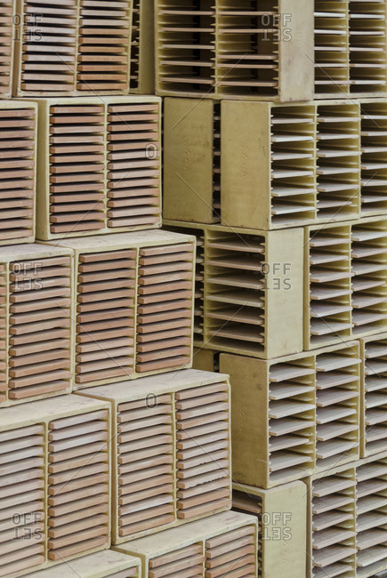 Stacks of ceramic tiles in boxes