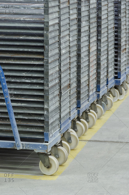 Rolling carts in a tile factory