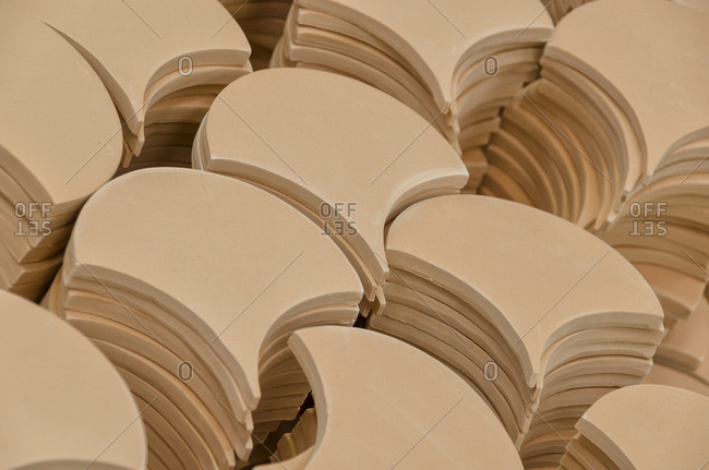 Rounded ceramic tiles in a factory