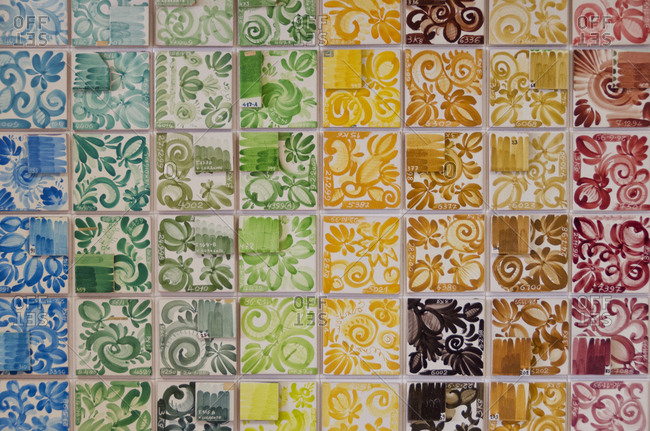Various ceramic tiles arranged by color