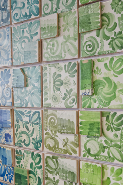 Ceramic tiles organized by color