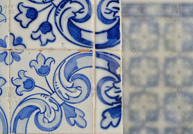 Blue painted tile patterns