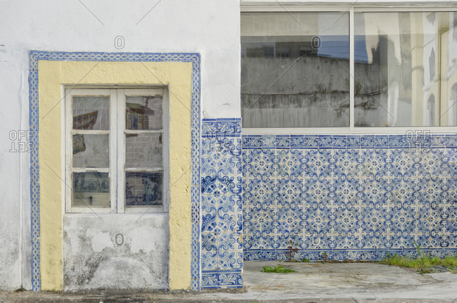 Traditional tiles on exterior of building