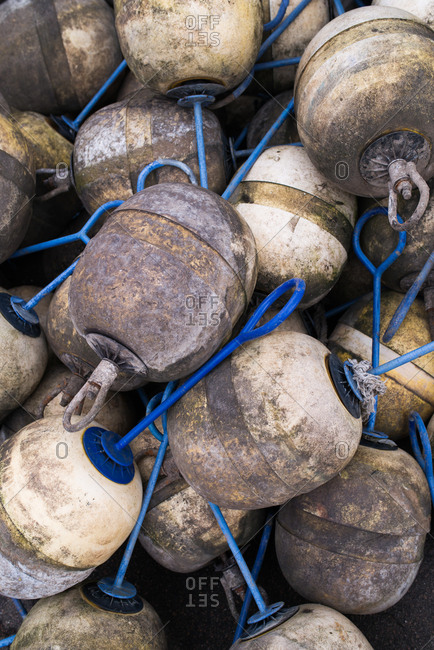 Close up of pile of fishing buoys