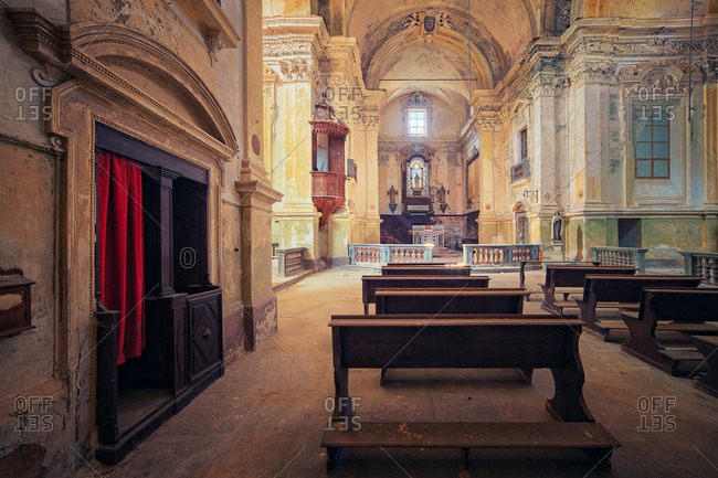 Turin, Italy - September 25, 2014: Interior of abandoned Catholic church