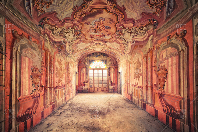 Fiorenzuola d'Arda, Italy - September 24, 2014: Elaborately painted hall in abandoned villa