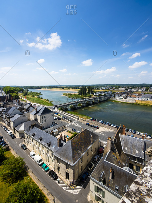 France, Amboise - June 9, 2015: View to the old town with River Loire and Pont du Marechal Leclerc in the background