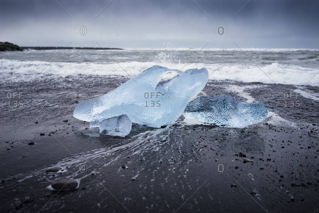 Iceland- Jokulsarlon- Diamond Beach- glacial ice on the beach