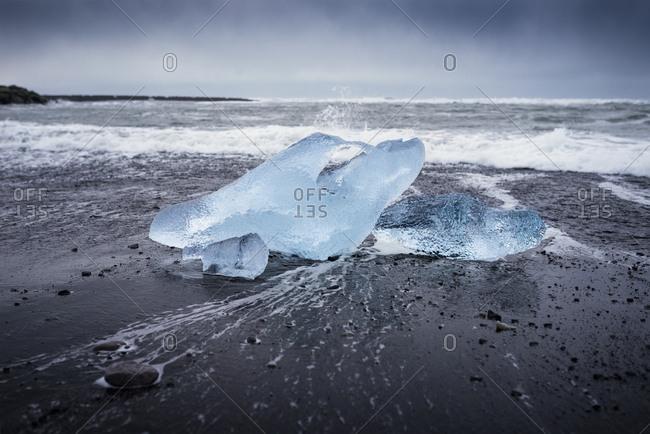 Iceland- Jokulsarlon- Diamond Beach- glacial ice on the beach