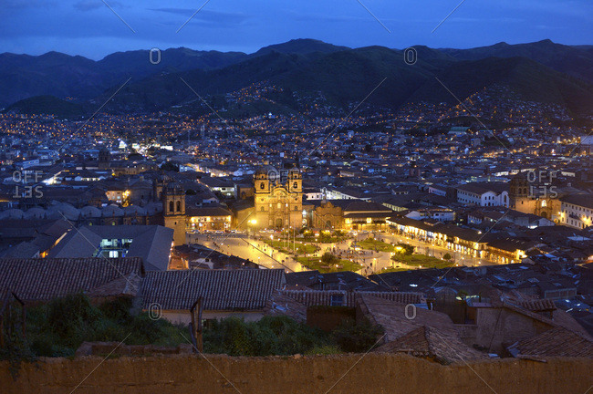 Peru, Cusco - March 1, 2016: Cityscape with illuminated Plaza de Armas at night