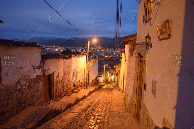Peru- Cusco- alley in the old town at night
