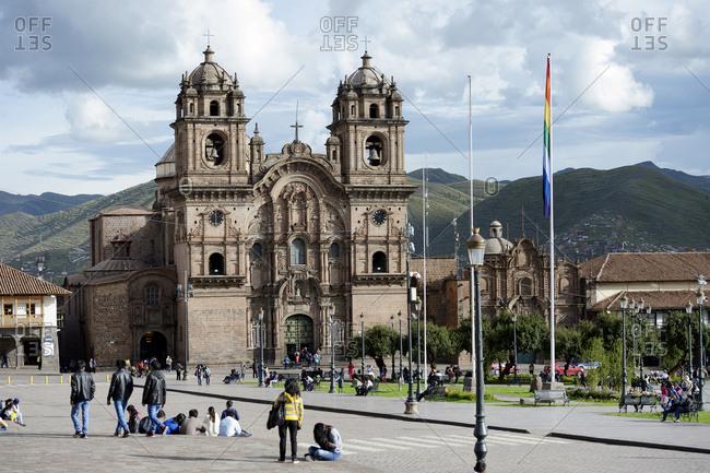 Peru, Cusco - February 28, 2016: Plaza de Armas with Jesuit Church