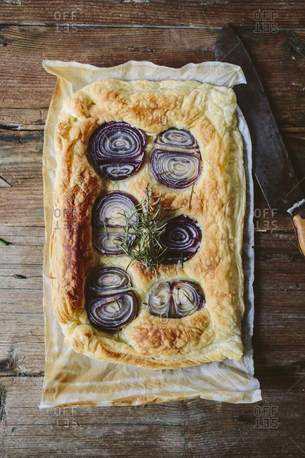 Baked Focaccia with red onions and rosemary