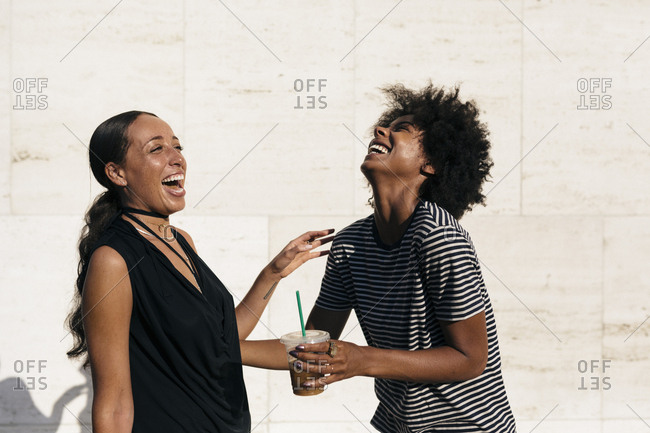 Two laughing friends